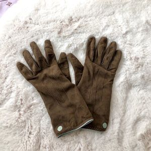 coach cashmere and suede brown gloves